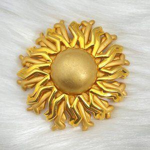 Vintage Signed Monet Sunshine Sun Brooch